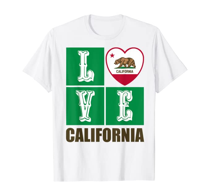 California Republic Golden State Flag Heart Grizzly Bear Souvenir T-Shirt