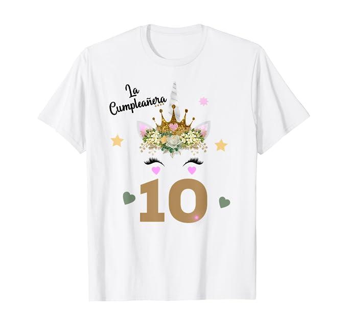 Amazon.com: Camisa de Cumpleanos Diez Anos 10th Birthday 10 ...
