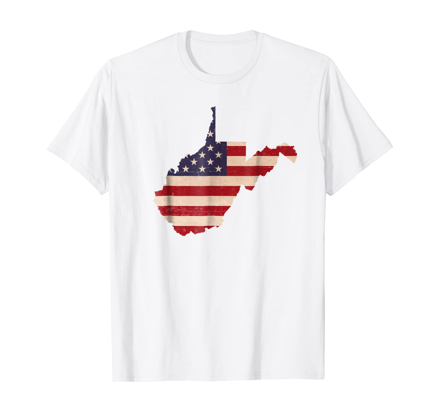 West Virginia American Flag Vintage T-Shirt