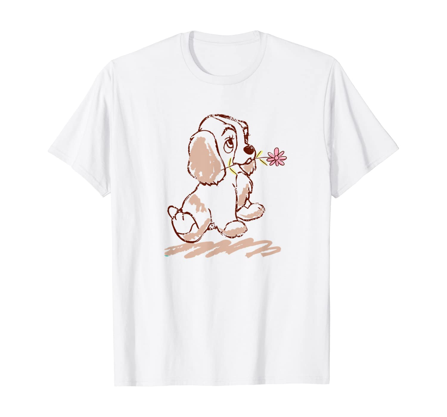 Amazon Com Disney Lady And The Tramp Lady Puppy Sketch T Shirt Clothing