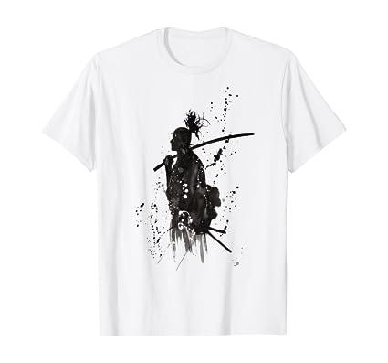 Samurai Warrior V-Neck T-Shirt Temple Fight Swords Crafting Martial Arts Ja C430