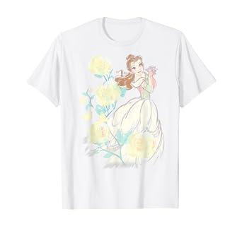 Amazon Com Disney Beauty The Beast Belle Watercolor Rose T Shirt Clothing