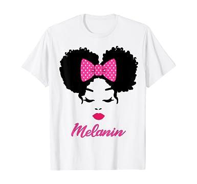 Amazon.com: Afro Diva Pink Lips Bow Tie Black Girl Magic Puffs Melanin T-Shirt: Clothing