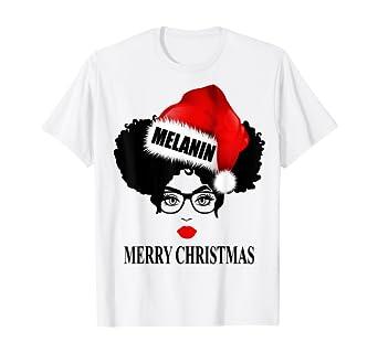 Amazon.com: Merry Christmas Afro Diva Red Lips Puffs Melanin Santa Claus T-Shirt: Clothing