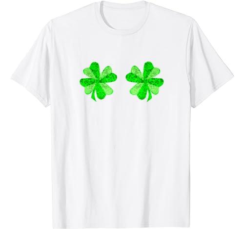 St Patricks Day Shirt Women Funny Shamrock Boobs Shirt T Shirt