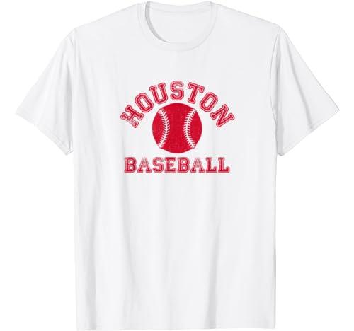 Houston Distressed College Baseball Fan Vintage Retro Team T Shirt