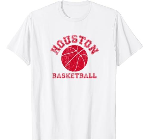 Houston Distressed Pro Basketball Fan Vintage Retro Team T Shirt