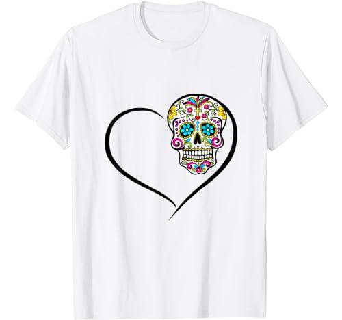 Day Of The Dead Skull Skeleton Heart Sugar Skull T Shirt