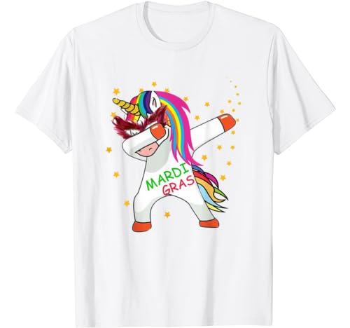 Dabbing Unicorn Mardi Gras Funny Costume Girls Kids Dab T Shirt