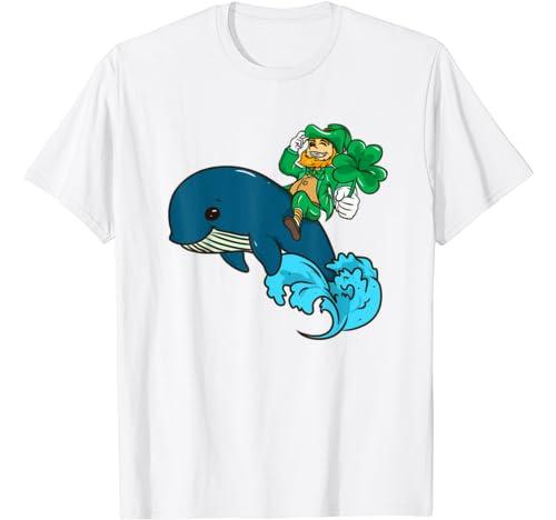 Cute Leprechaun Riding A Whale St. Patrick's Day T Shirt