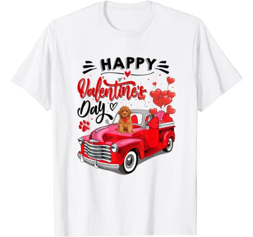 Poodle Dog Red Truck Valentines Day Funny Dog Valentine Gift T Shirt