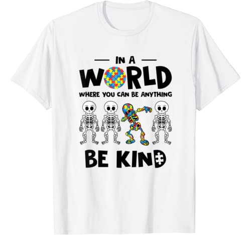 Be Kind Puzzle Ribbon Dabbing Skeleton Autism Awareness T Shirt