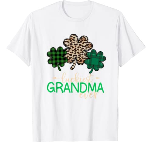 Three Shamrocks Luckiest Grandma St.Patrick's Day For Women T Shirt