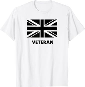 British Flag Design For Veterans, UK Flag with Veteran Logo T-Shirt
