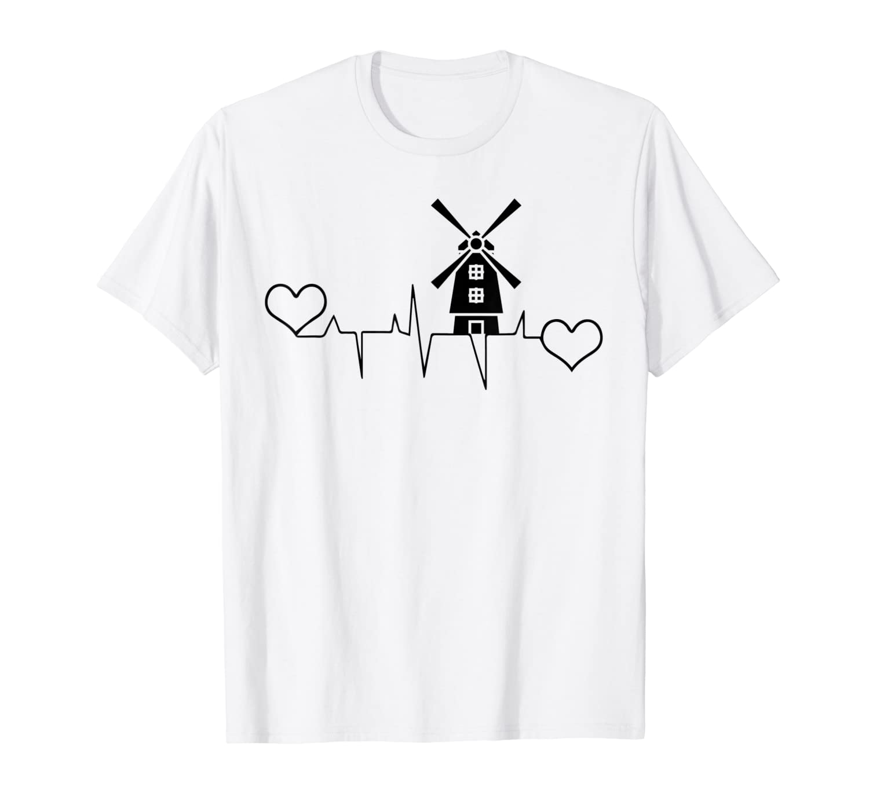 The Netherlands Holland heartbeat windmill Dutch T-Shirt