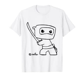Amazon.com: CUTE BABY NINJA DRAWING TSHIRT - Doodle of ninja ...