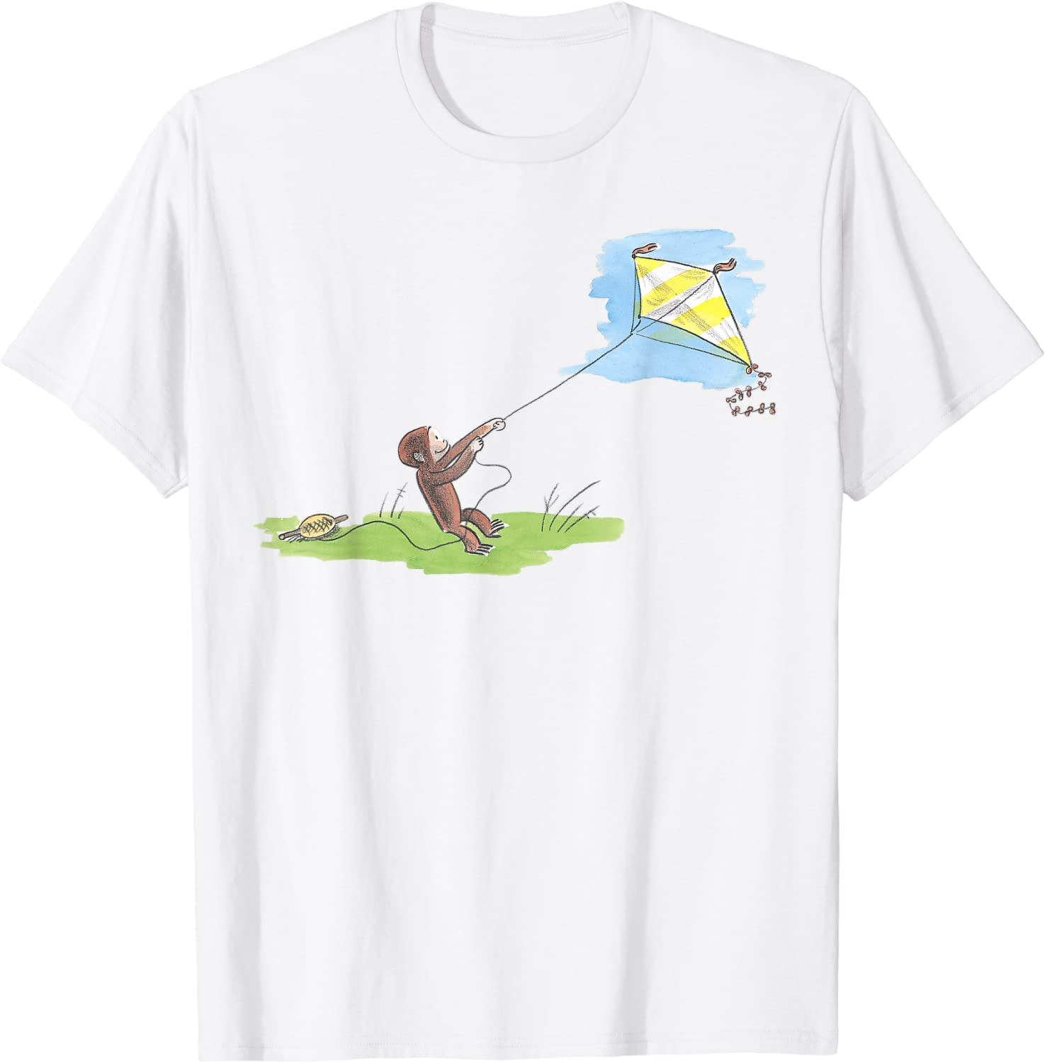 Curious George Flies Kite On A Sunny Day T-Shirt