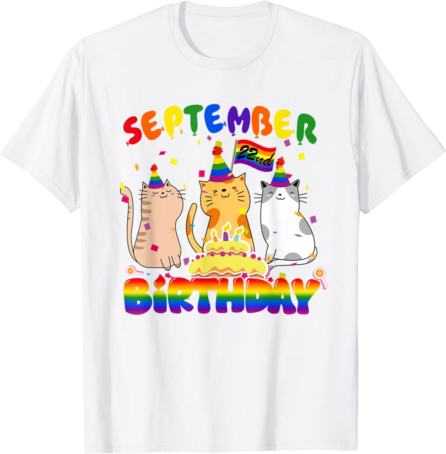 22nd Birthday in September For LGBT Cat Owner T-Shirt-TH