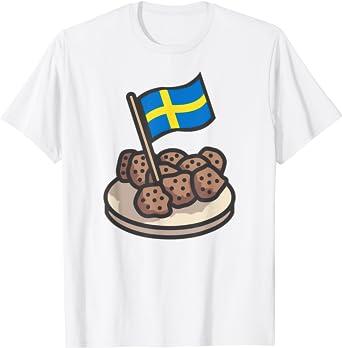 Amazon Com Swedish Flag Funny Swedish Meatballs T Shirt T Shirt Clothing