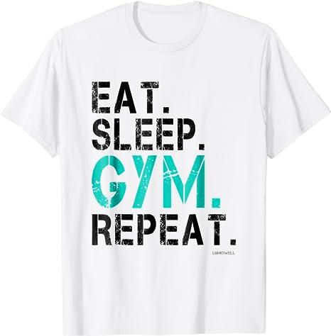 EAT SLEEP GYM LADIES T SHIRT TRAINING TOP RUNNING FITNESS LIFTING COL