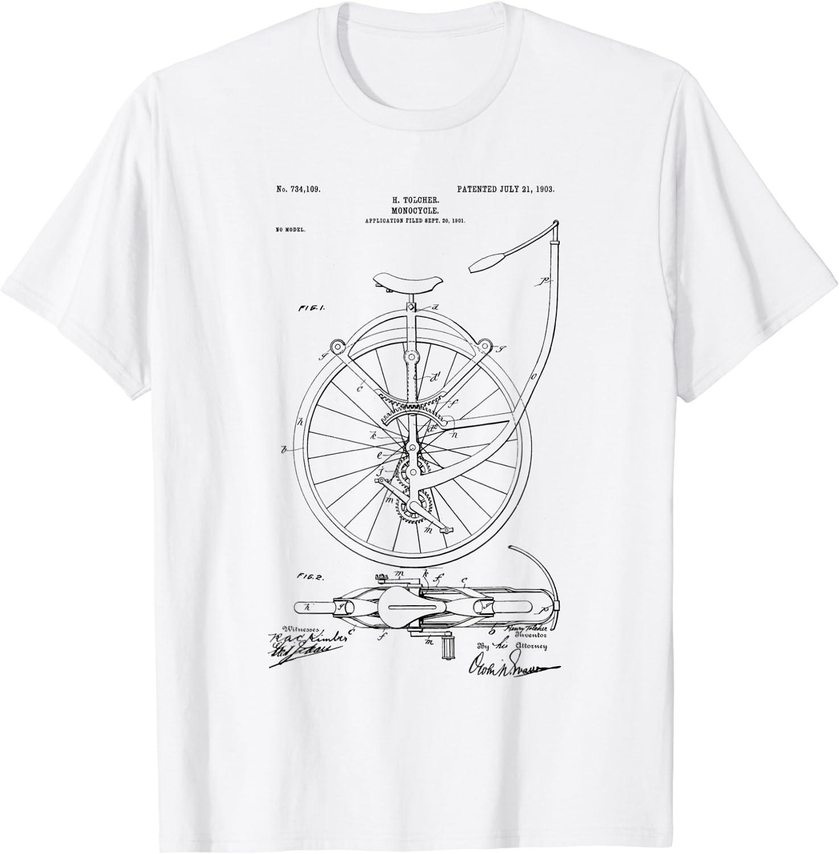 Monocycle Unicycle Unicycling Patent Art Tee T-shirt
