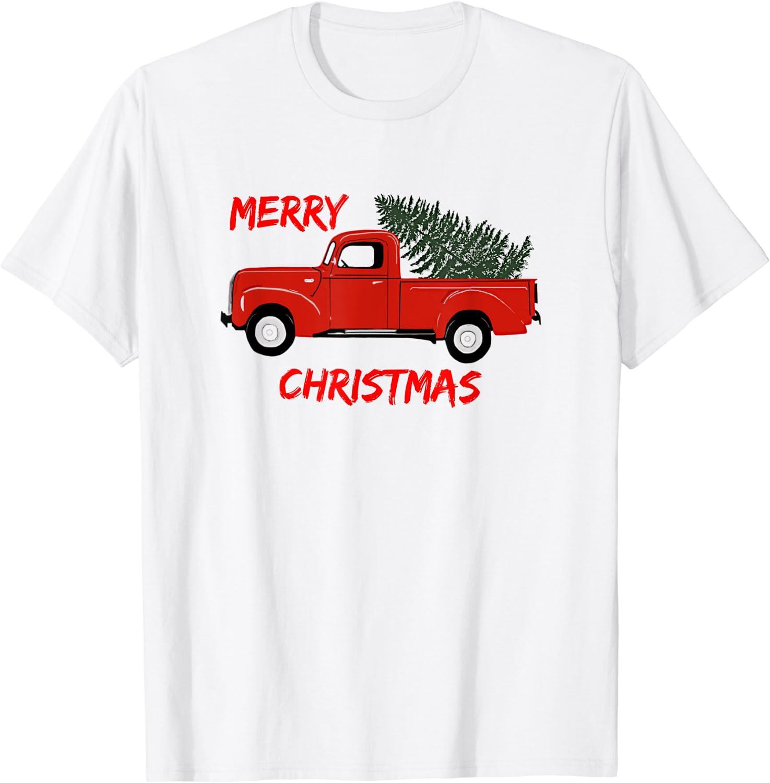 Red Truck Merry Christmas T-Shirt Masswerks Store
