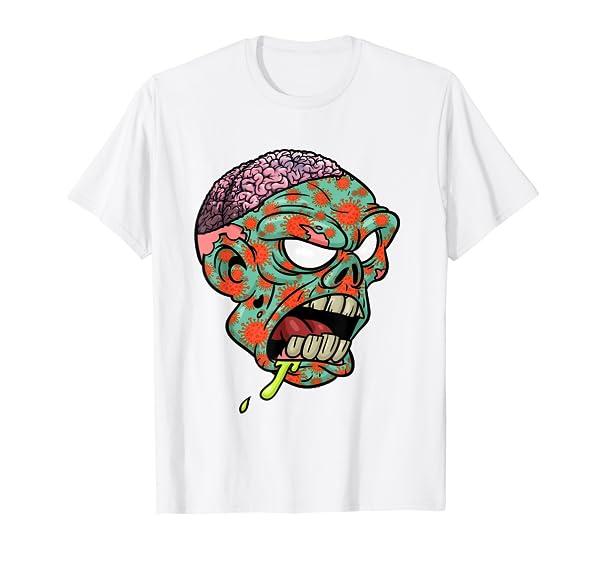 Virus Zombie Halloween Skull Brain T-Shirt