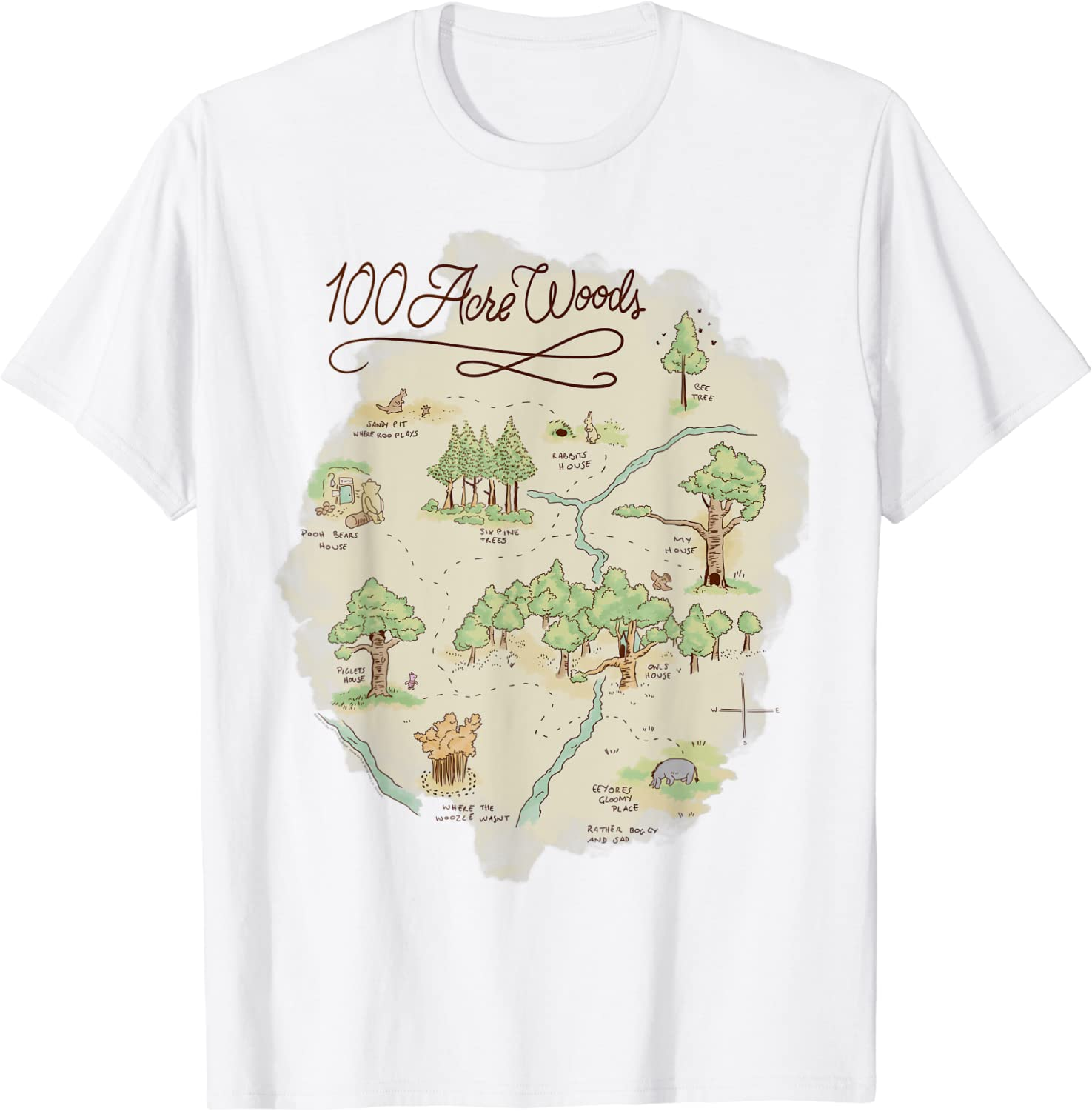 Disney Winnie The Pooh 100 Acre Woods Map T-Shirt : Clothing, Shoes & Jewelry