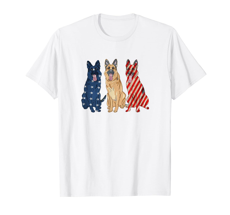 3 German Shepherd Patriotic US American Flag July 4th Shirt Unisex Tshirt