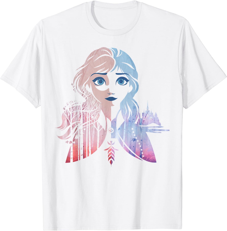 Disney Frozen 2 Anna Two Tone Gradient Portrait Fill T-Shirt