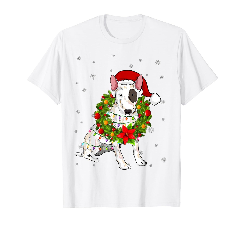 Santa Bull Terrier Dog with Christmas lights Gifts Xmas T-Shirt