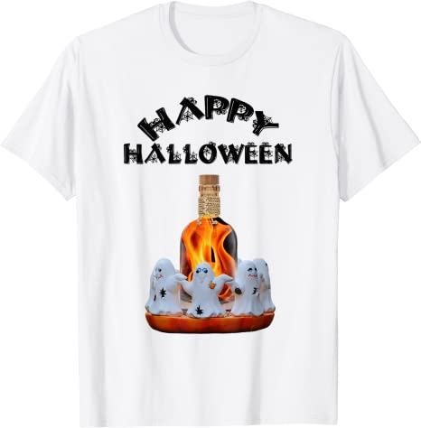 Happy Halloween T-Shirt With Ghosts And Firewater Masswerks Store