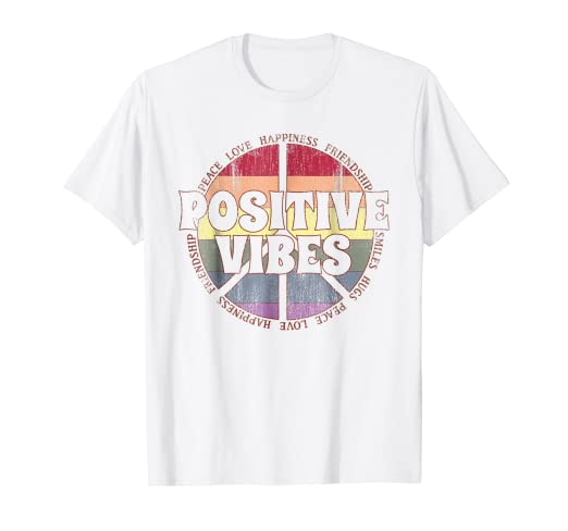 7bd7ceba73e Amazon.com: Positive Vibes Rainbow Peace Sign Hippie Vintage T-Shirt ...