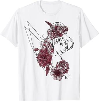 Disney Peter Pan Tinkerbell Flowers Floral Outline T-Shirt