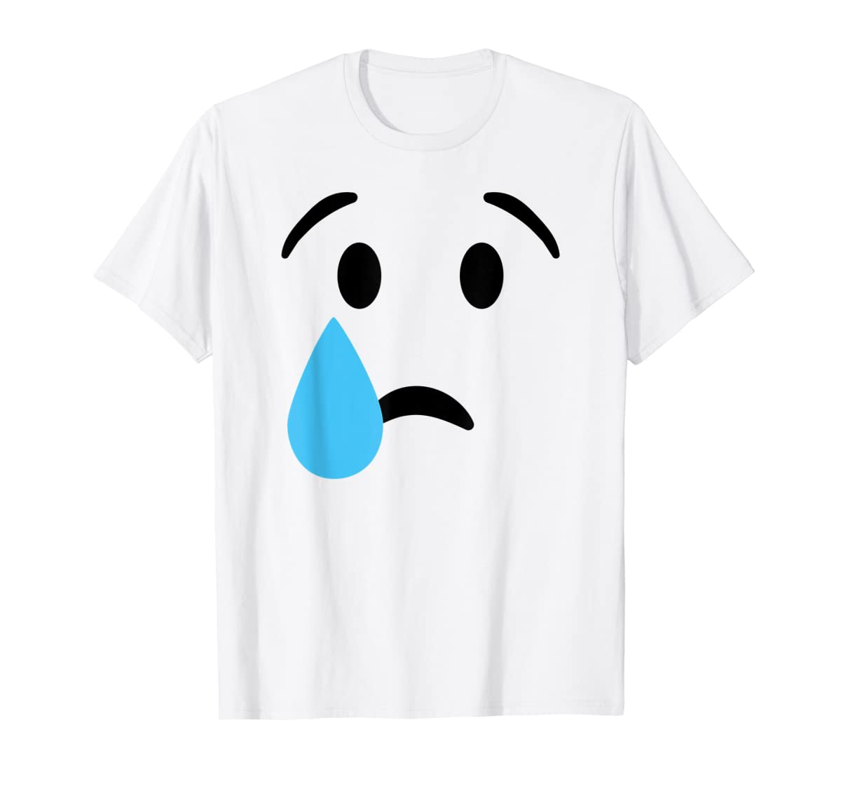 Sad Crying Tear Eyes Face Emojis Emoticon Halloween Costume T-Shirt-Men's T-Shirt-White