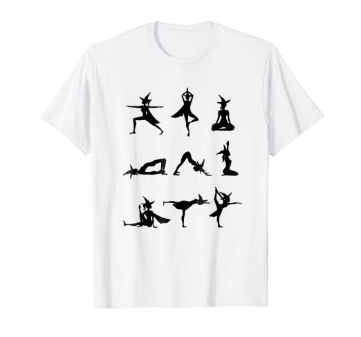 Amazon.com: Halloween Yoga T-shirt with Witches in Yoga ...