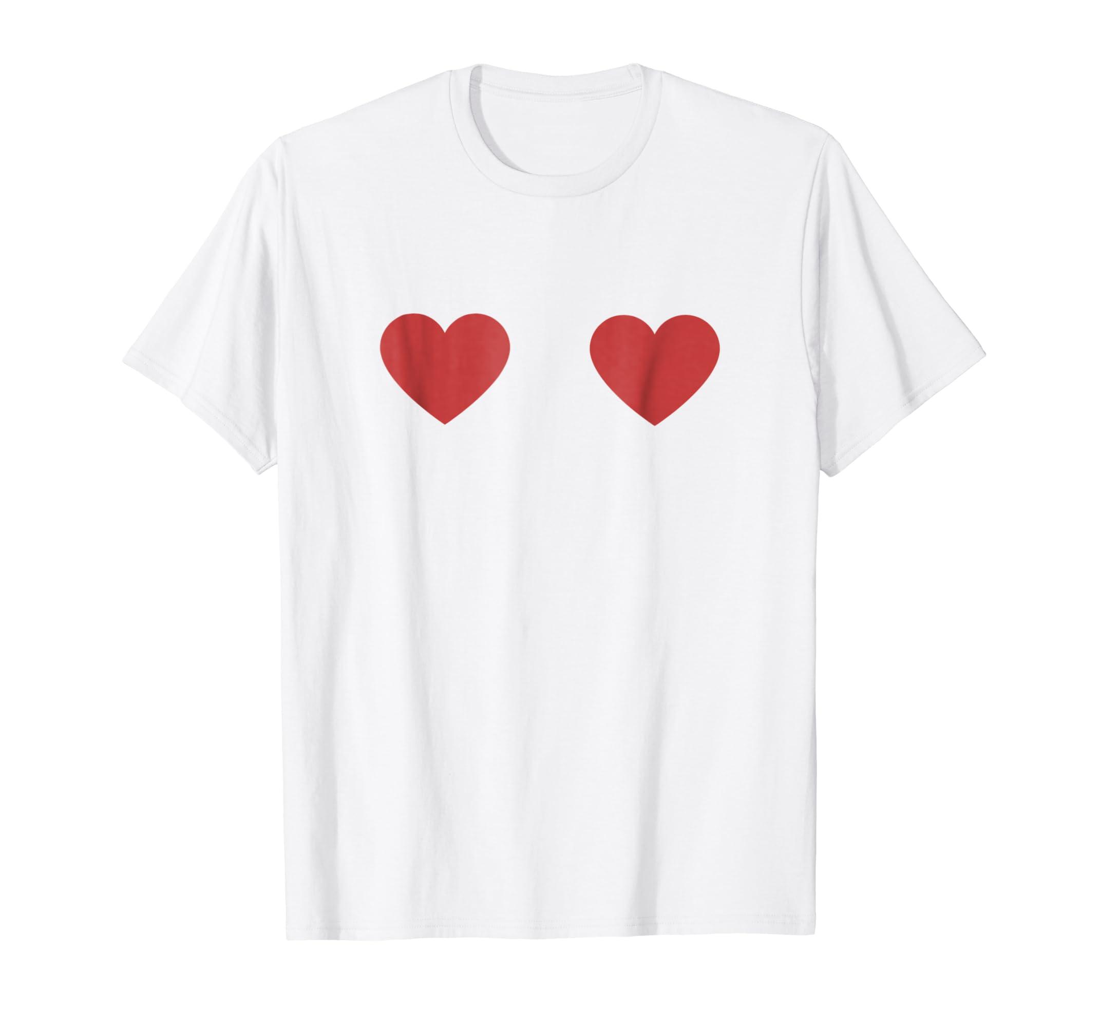 70a49f96 Amazon.com: Two Hearts TShirt Funny Valentine's Day Boob Shirt Heart 2:  Clothing