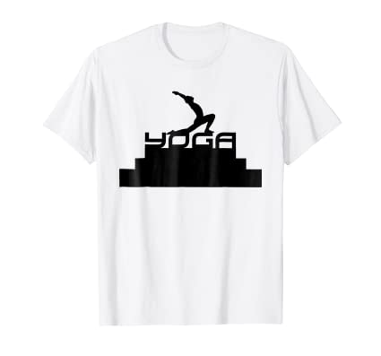 Yoga Lifestyle pyramid T Shirt pose with arms in air