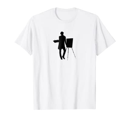 Distressed Artist with Easel minimal graphic t shirt
