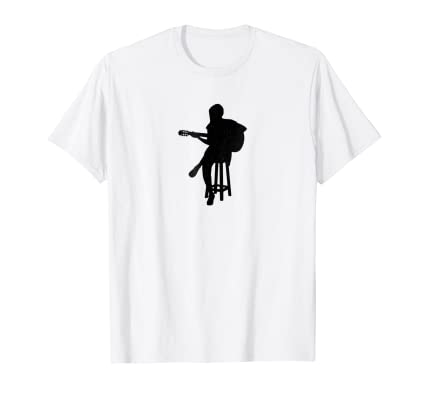 Distressed Acoustic Guitar Player sihouette graphic t shirt