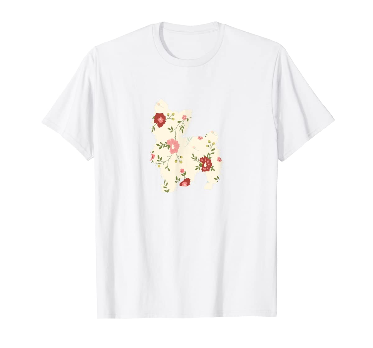 Yorkshire terrier Floral Vintage Dog Flower T-Shirt Gift Mom-Men's T-Shirt-White
