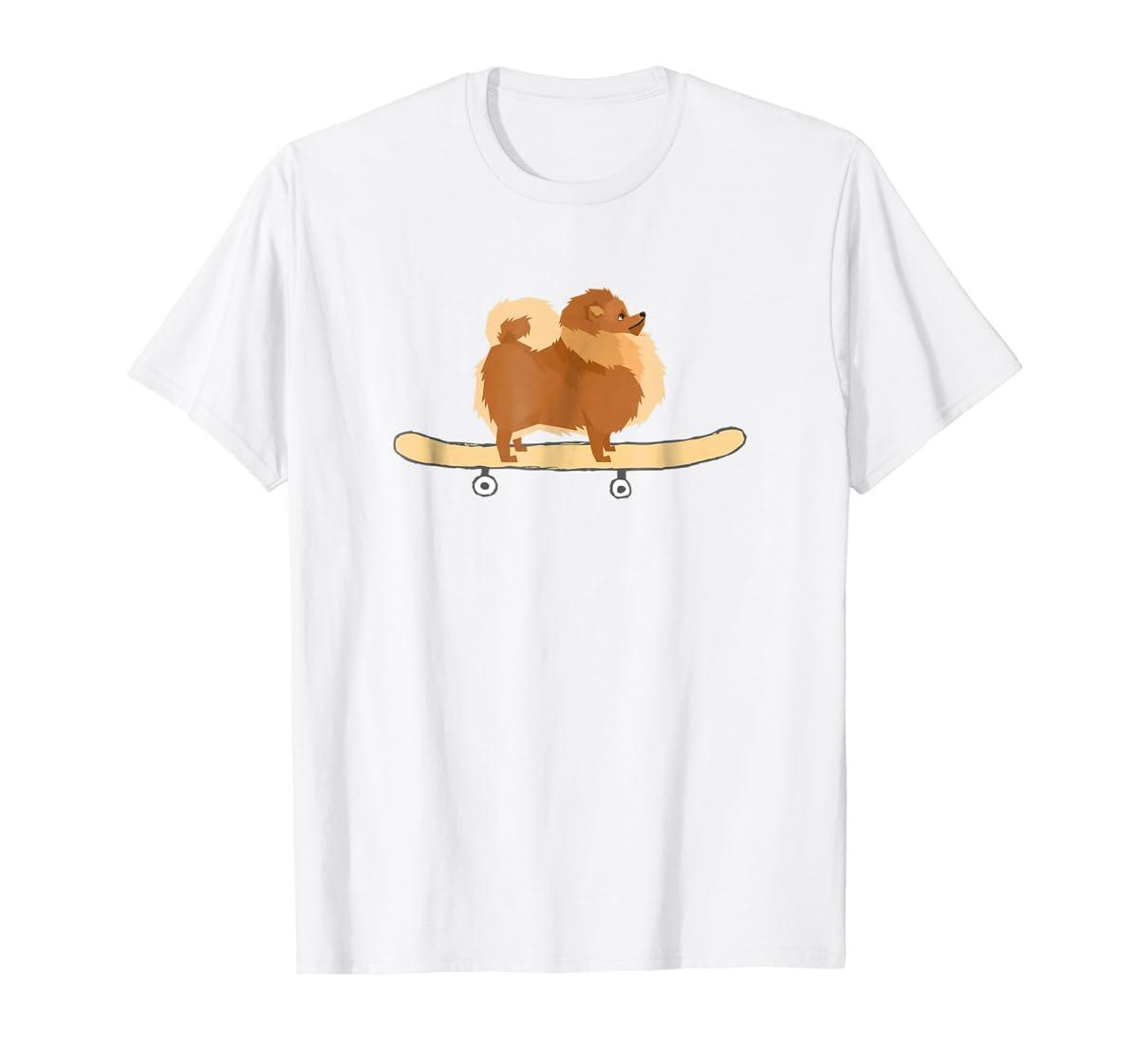Funny Skateboarding Pomeranian Pom Puppy T-Shirt Gift-Men's T-Shirt-White