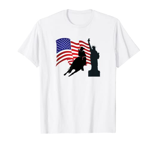 6f3c3954 Amazon.com: Barrel Racing T-Shirt - Featuring Statue of Liberty ...