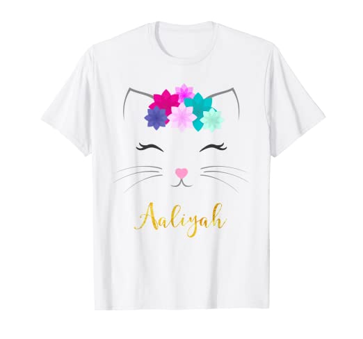 af4e24a0d Image Unavailable. Image not available for. Color: Aaliyah Name Shirt Kitty  Cat Personalized Birthday Gift