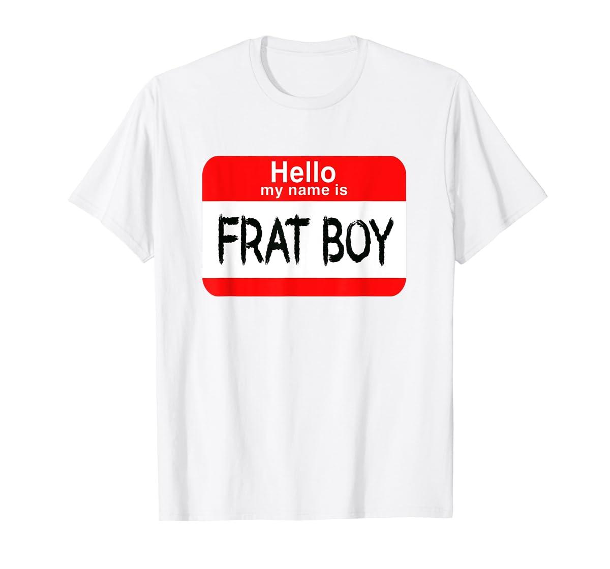 Hello My Name Is Frat Boy Halloween Costume T-Shirt-Men's T-Shirt-White