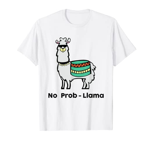 ad9d5b37 Image Unavailable. Image not available for. Color: No Probllama T-Shirt  Funny Llama Tee Alpaca Lover Gift
