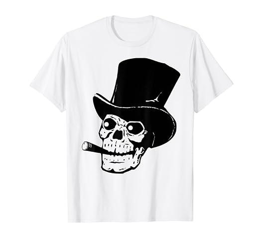 502e30415 Amazon.com: Cool Skull Rocker T-Shirt Cigar Top Hat Skeleton Punk ...