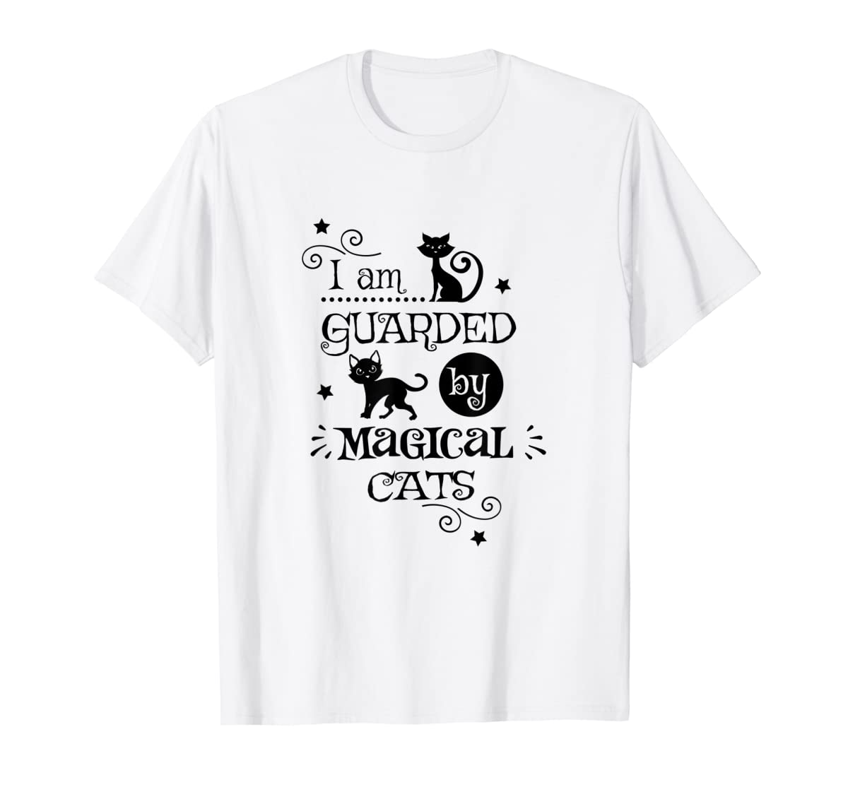 Guarded By Magical Cats Cat Halloween Costume T-Shirt-Men's T-Shirt-White