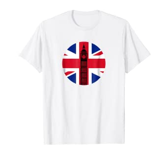 f028cba7 Image Unavailable. Image not available for. Color: London Big Ben Union Jack  Vintage UK Flag British Shirt Gift