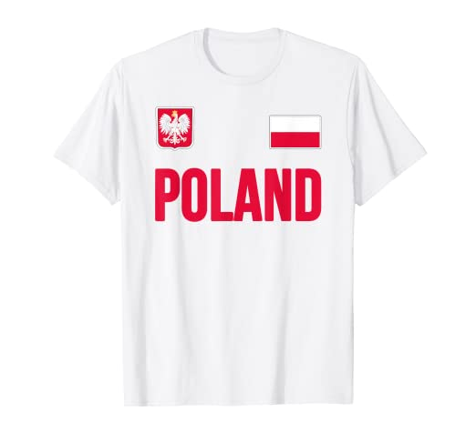 940800ce3 Image Unavailable. Image not available for. Color  Poland T-shirt Polska  Polish Flag Soccer Football ...